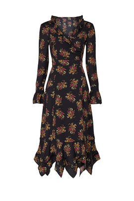 Black Floral Ruffle Dress by Thakoon Collective