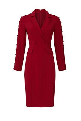 Burgundy V-Neck Sheath by Badgley Mischka