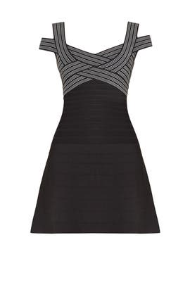 Sveta Jacquard Stripe Dress by Hervé Léger