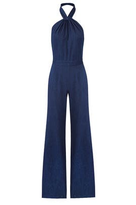 Indigo Denim Jumpsuit by Josie Natori