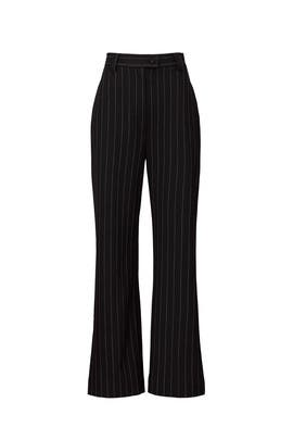 Black Pinstripe Wide Leg Pants by Sweet Baby Jamie