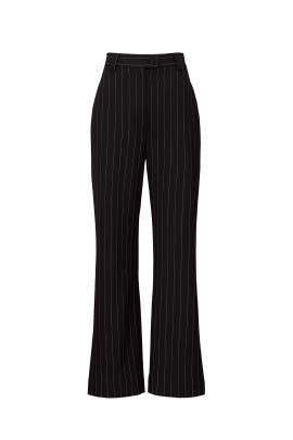 Black Pinstripe Wide Leg Pants by Sweet Baby Jamie