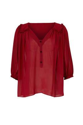 Wine Red Mercer Sheer Top by T-Bags LosAngeles