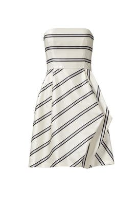 Striped Strapless Cocktail Dress by HALSTON