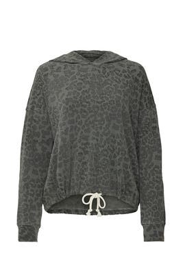 Leopard Drawstring Hoodie by Sundry