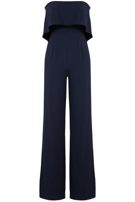 Navy Ruffle Jumpsuit by ML Monique Lhuillier