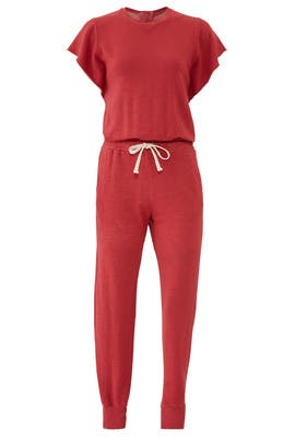 Red Short Sleeve Jumpsuit by MONROW