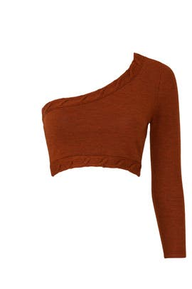 One Shoulder Cropped Sweater by Victor Glemaud