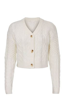 Ivory Mix Cable Cardigan by VOX LUX