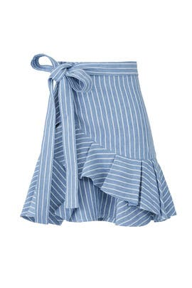 Blue Stripe Anvivi Ruffle Skirt by Alexis