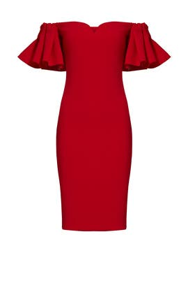 Red Off Shoulder Ruffle Dress by Badgley Mischka