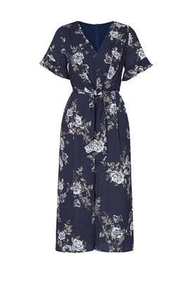 Floral Tie Front Jumpsuit by Louna