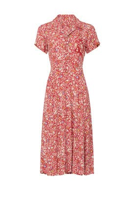 Red Floral Shirt Dress by Polo Ralph Lauren