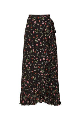 Black Floral Midi Skirt by GANNI