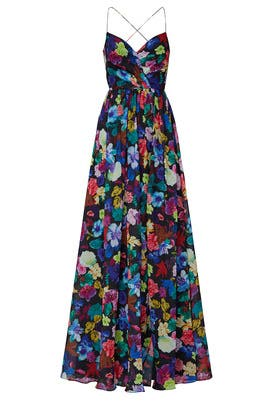 Multi Floral V-Neck Gown by Love by Theia