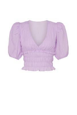 Purple Puff Sleeve Smocked Top by Louna