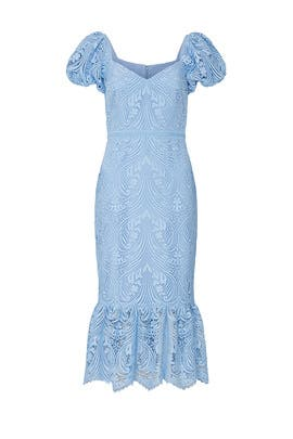 Lace Puff Sleeve Dress by ML Monique Lhuillier