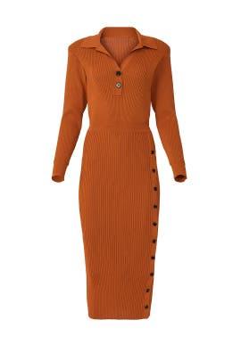 Cinnamon Ribbed Midi Dress by Self-portrait
