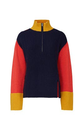 Colorblock High Neck Zip Sweater by Victor Alfaro Collective