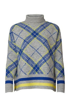 Blue Plaid Turtleneck Sweater by Central Park West