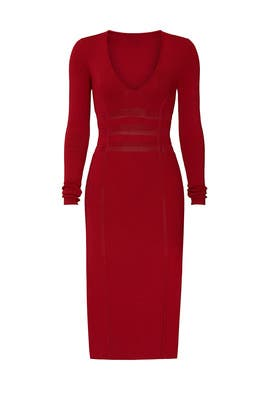 Red Deep V Midi Dress by GOOD AMERICAN