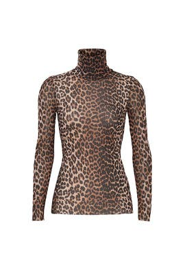 Leopard Print Mesh Turtleneck by GANNI