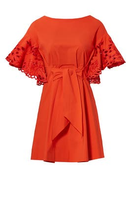 Red Eyelet Flutter Dress by Josie Natori