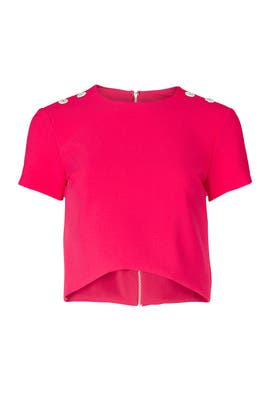 Stretchy Tech Poppy Top by Nicole Miller