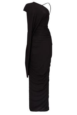 Black Asymmetrical Jersey Gown by RICKOWENSLILIES