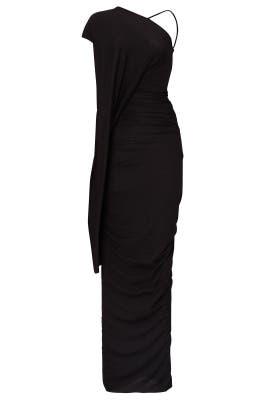 Black Asymmetrical Jersey Gown by RICKOWENSLILIES