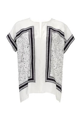Silk Scarf Print Popover Blouse by VINCE.