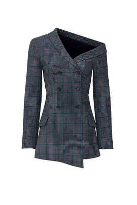 Glen Plaid One Shoulder Jacket by Jonathan Simkhai