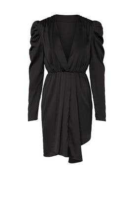 Black Puff Sleeve V-Neck Dress by KENDALL + KYLIE