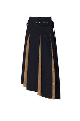 Navy Scarf Insert Skirt by Rokh
