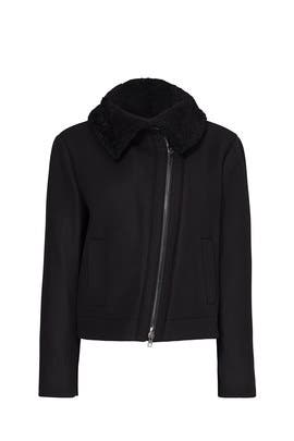 Shearling Collar Moto Jacket by VINCE.