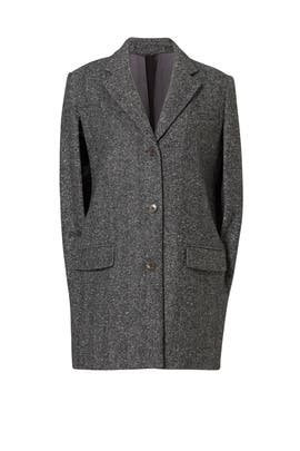 Charcoal Tweed Professional Cape by MICHAEL KORS