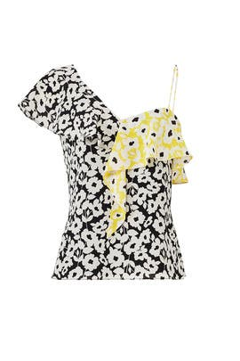 Yellow Printed Floral Ruffle Top by Slate & Willow