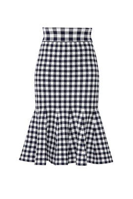Gingham Knit Trumpet Skirt by Jonathan Simkhai