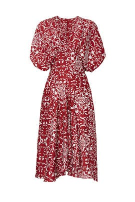 Red Printed Puff Sleeve Dress by The Kooples