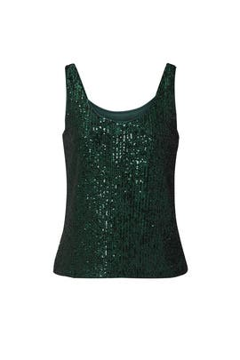 Green Sequin Top by Milly