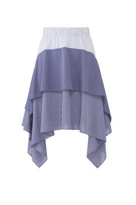 Blue Striped Tier Skirt by Opening Ceremony