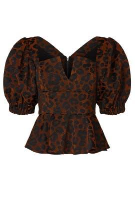 Cheetah Josephine Peplum Top by Autumn Adeigbo