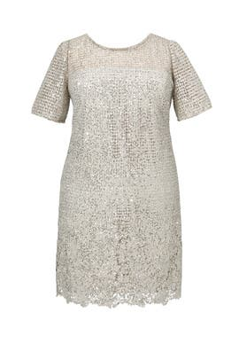 Silver Sequined Lace Cocktail Dress by Kay Unger