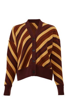 Striped Long Sleeve Cardigan by Marni