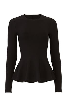 Classic Long Sleeve Peplum Top by Theory