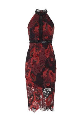 Burgundy Lace Midi Sheath by Alexia Admor