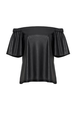 Black Faux Leather Off Shoulder Top by Bailey 44