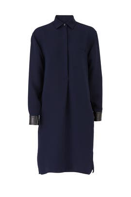 Blue Leather Cuffs Shirtdress by VINCE.