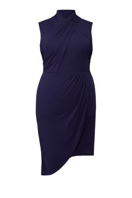 Navy Wrap Front Dress by ELOQUII