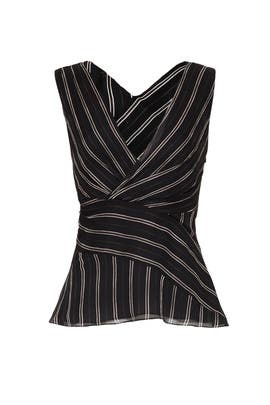 Black Crossed Striped Top by Jason Wu